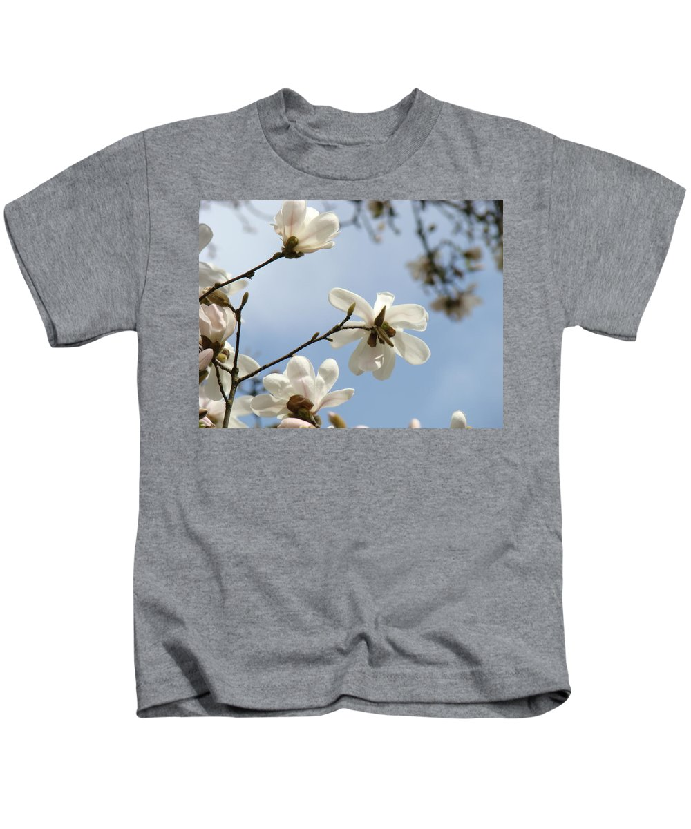 Magnolia Kids T-Shirt featuring the photograph Magnolia Flowers White Magnolia Tree Spring Flowers Artwork Blue Sky by Baslee Troutman