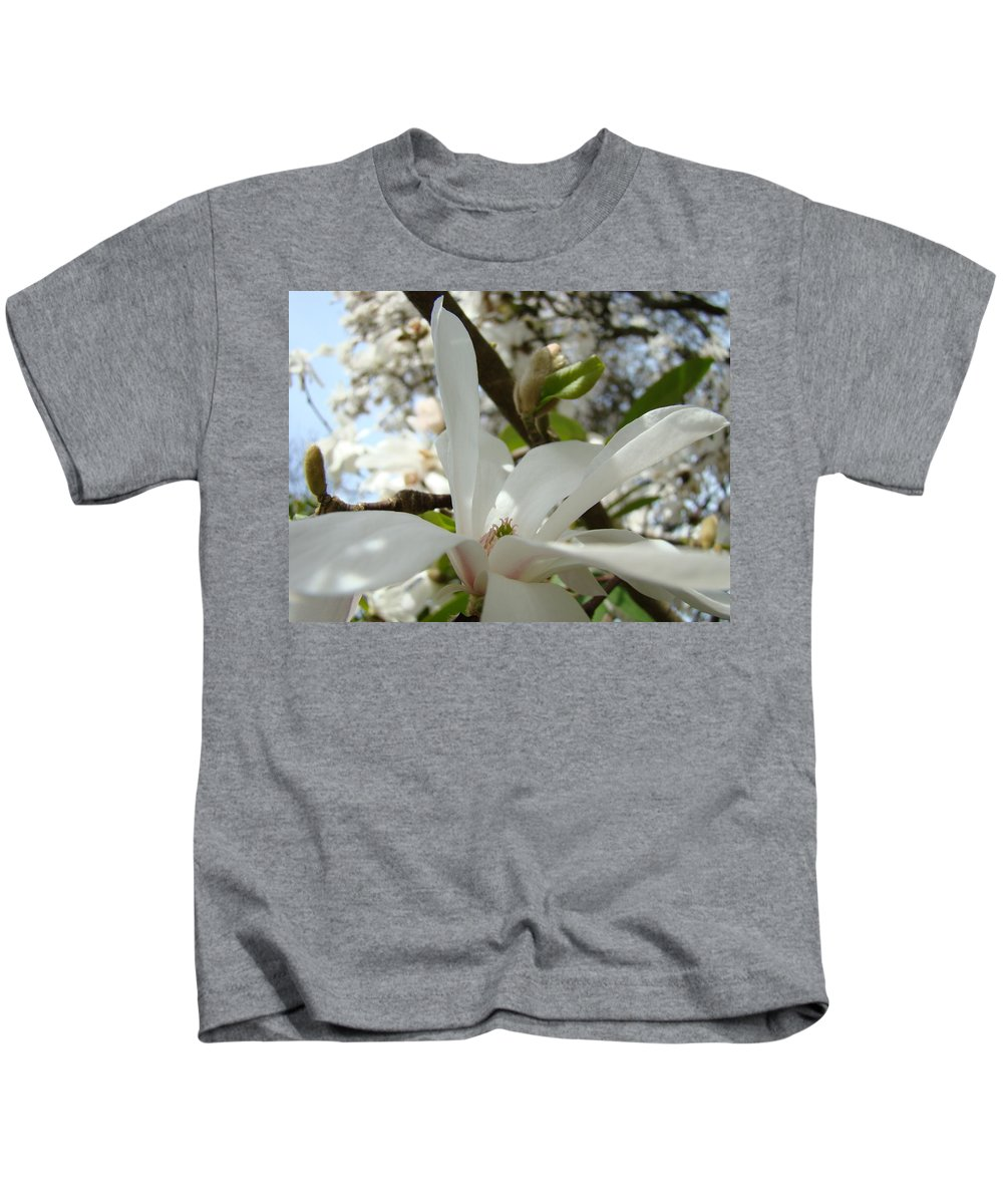 Magnolia Kids T-Shirt featuring the photograph Magnolia Tree Flowers Art Prints White Magnolia Flower by Baslee Troutman