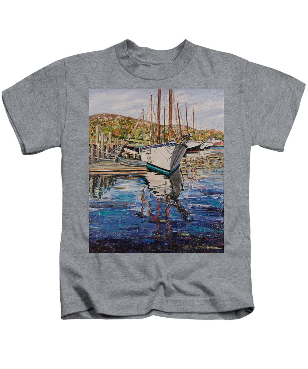 Maine Kids T-Shirt featuring the painting Maine Coast Boat Reflections by Richard Nowak