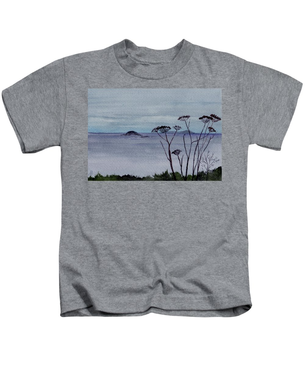 Landscape Watercolor Sea Ocean Sky Cloudy Flower Weed Kids T-Shirt featuring the painting Maine Moody Distance by Brenda Owen