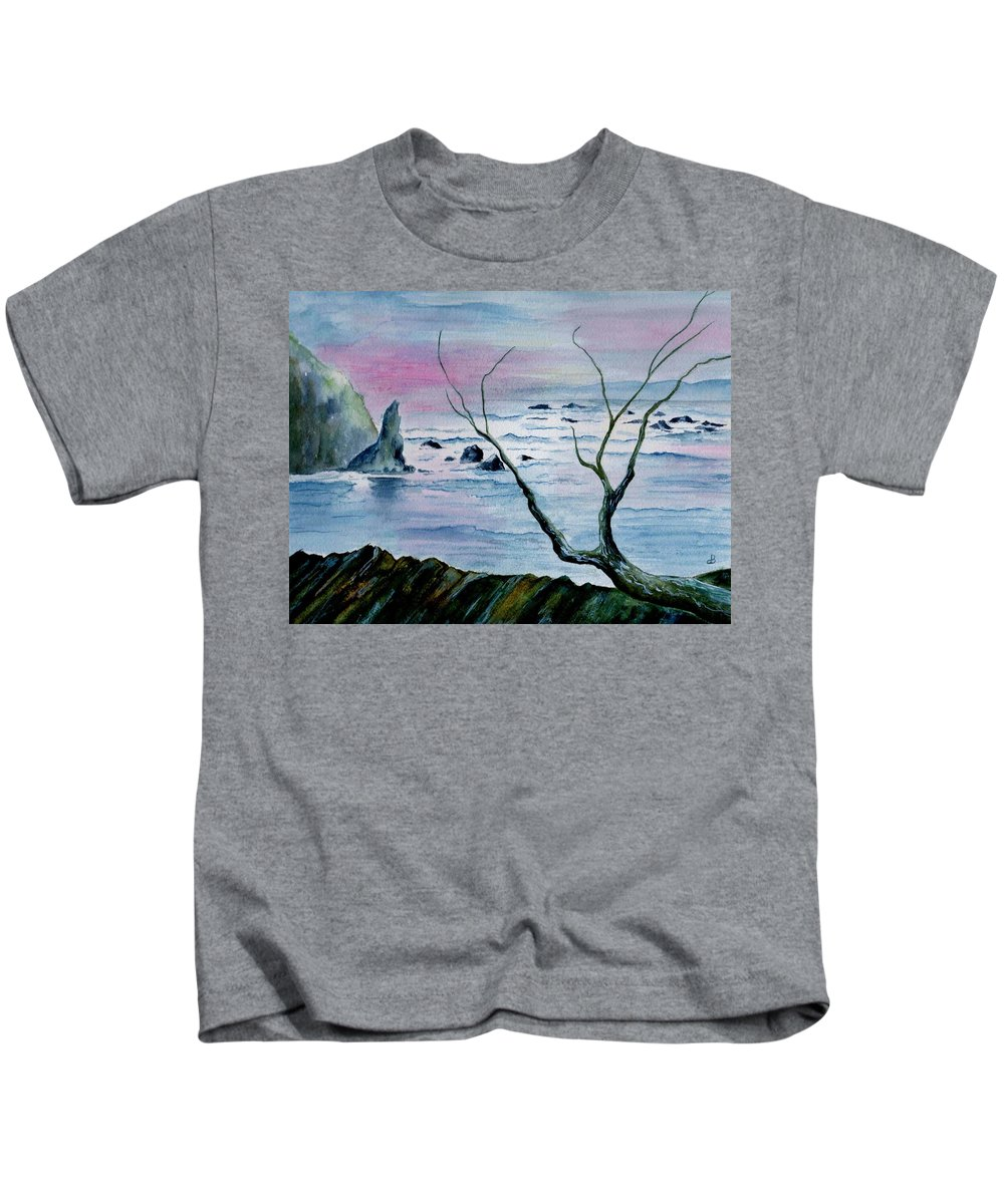 Watercolor Kids T-Shirt featuring the painting Maine Seawatch by Brenda Owen