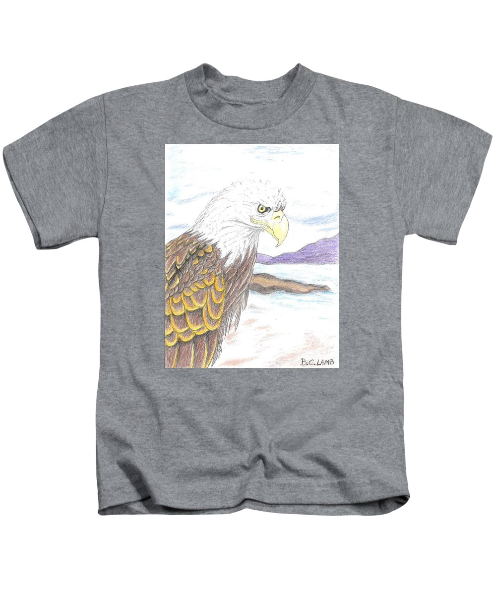 Eagle Kids T-Shirt featuring the drawing Majestic by Bryant Lamb