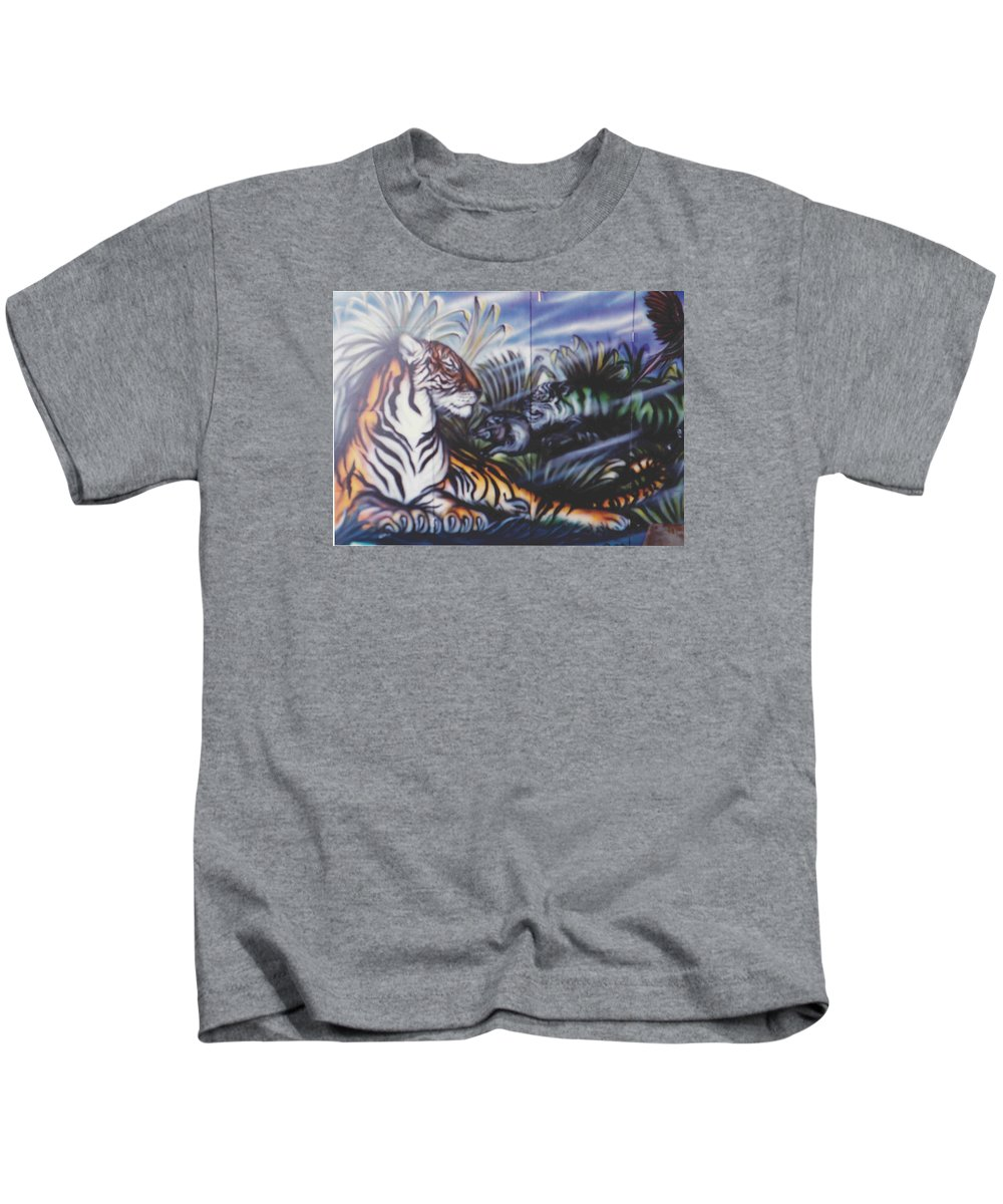 Tiger Kids T-Shirt featuring the painting Majestic Tiger by Lorraine Souza Wilcox