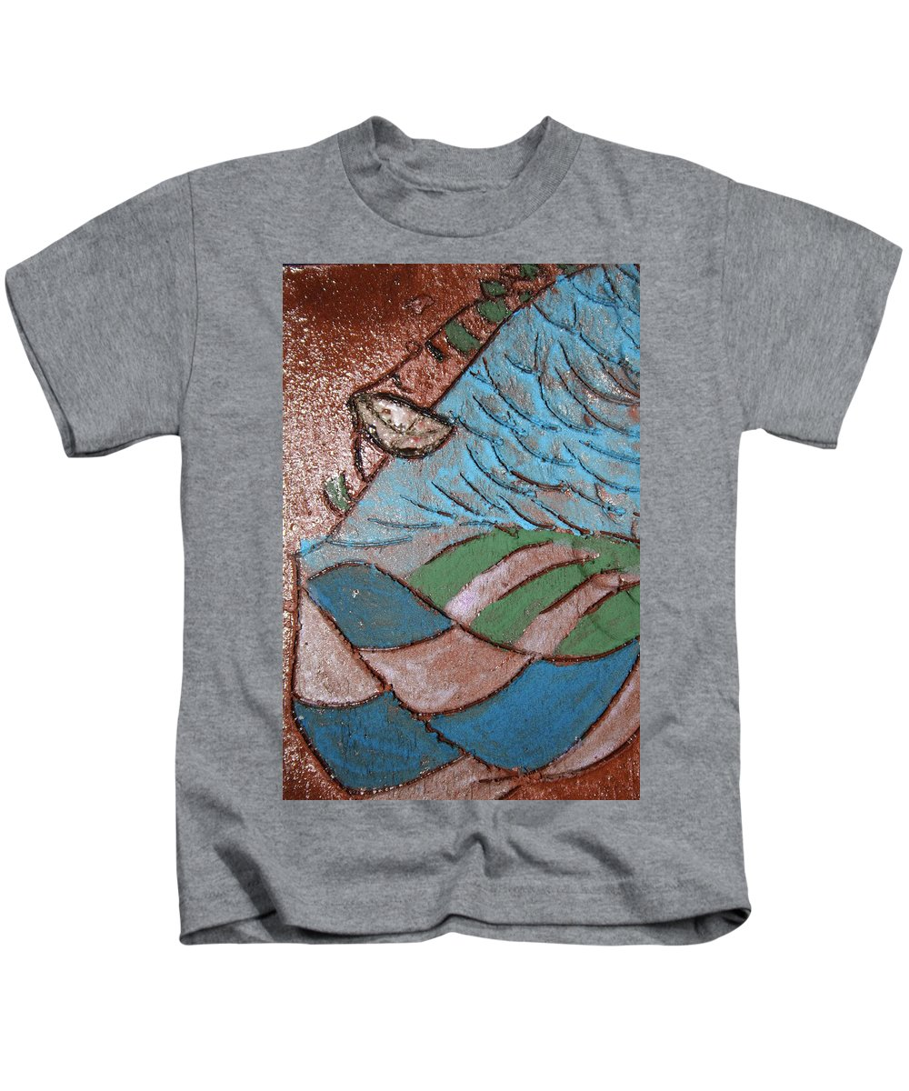 Gloria Ssali Kids T-Shirt featuring the painting Make Me Smile Tile by Gloria Ssali