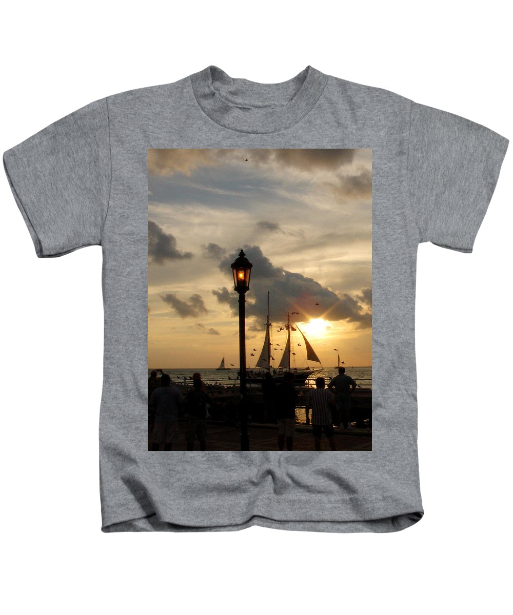 Photography Kids T-Shirt featuring the photograph Mallory Square Key West by Susanne Van Hulst