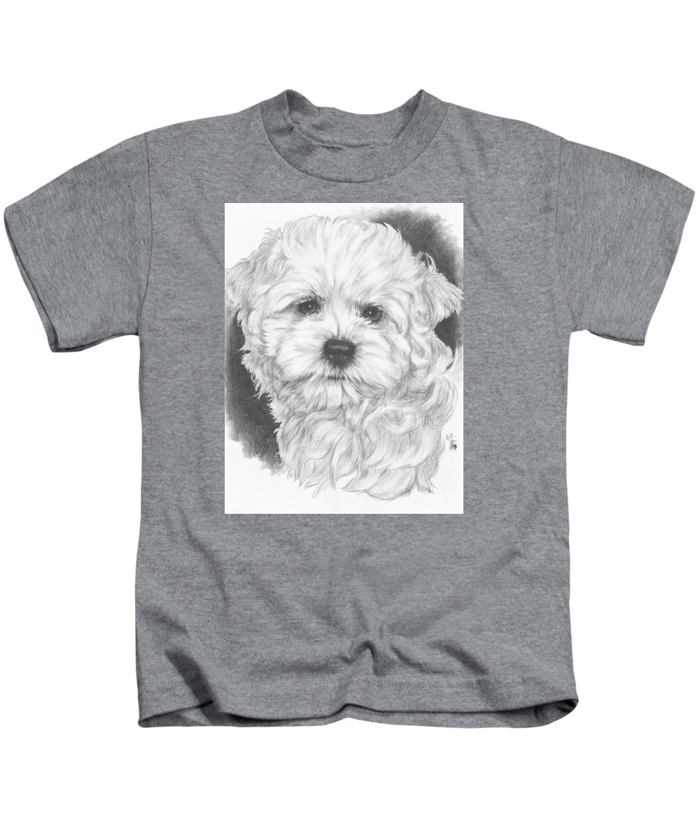 Designer Dog Kids T-Shirt featuring the drawing Malti-chon by Barbara Keith