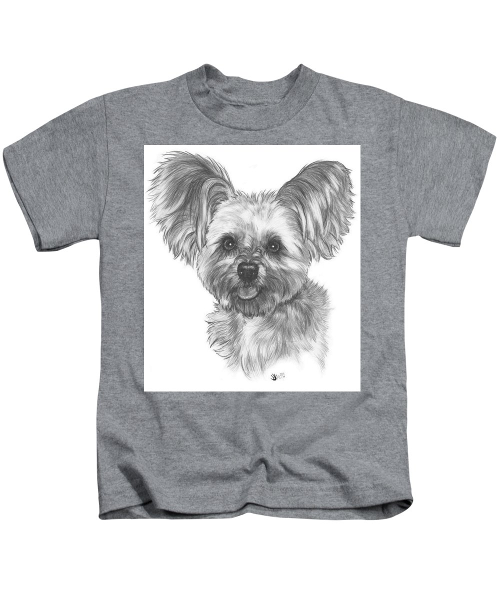 Designer Dog Kids T-Shirt featuring the drawing Malti-pom by Barbara Keith