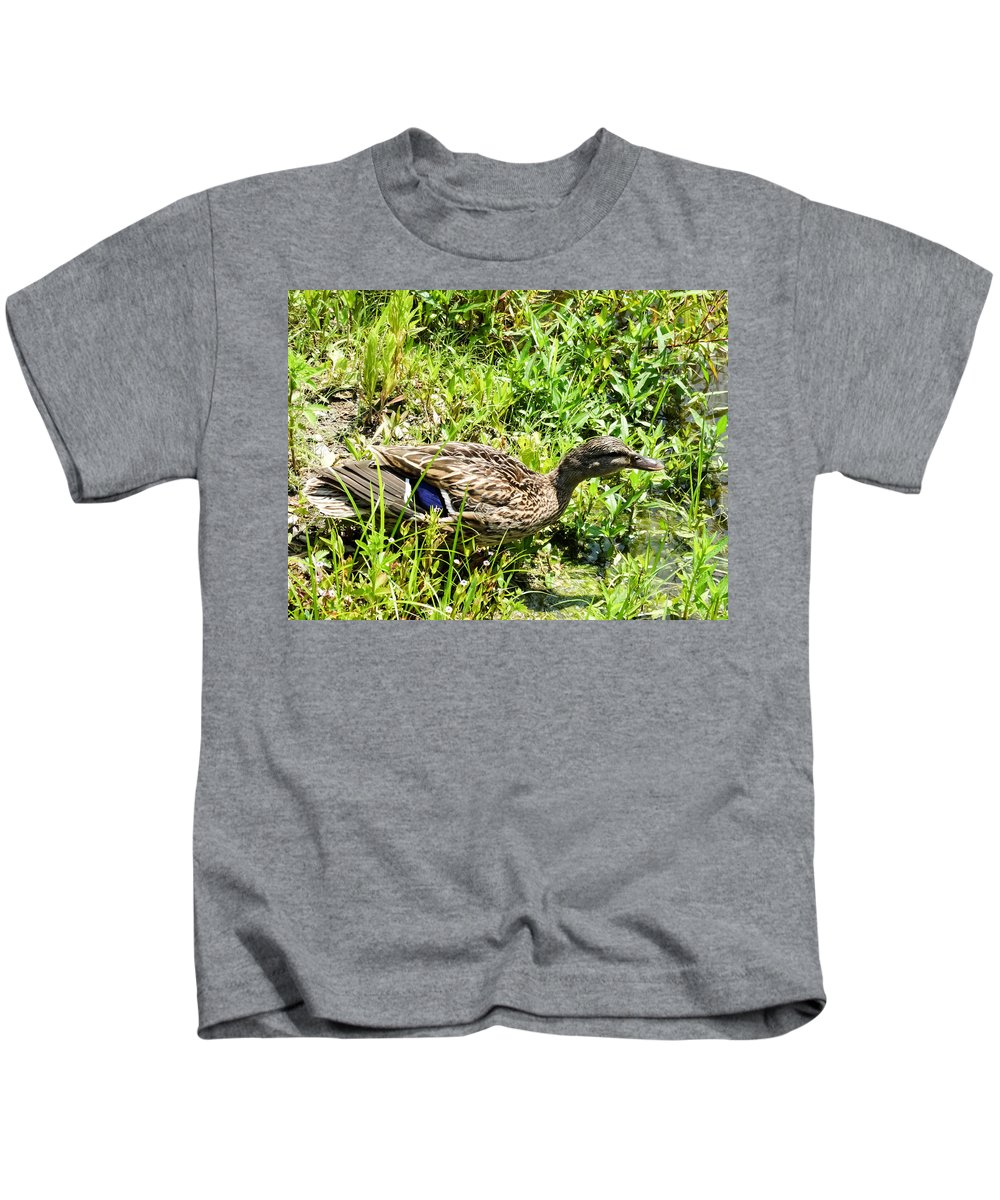 Mama Duck On Guard Kids T-Shirt featuring the photograph Mama Duck On Guard by Cynthia Woods
