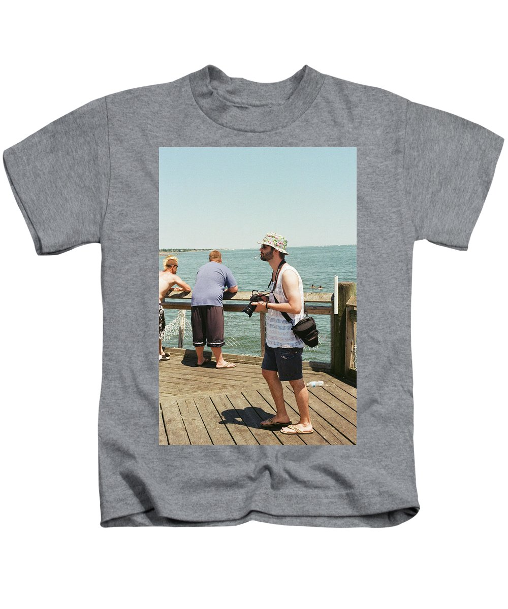 Portfolio Film 35mm Sea Ocean Landscape Pier Man People Beautiful Kids T-Shirt featuring the photograph Man by Robert Worth