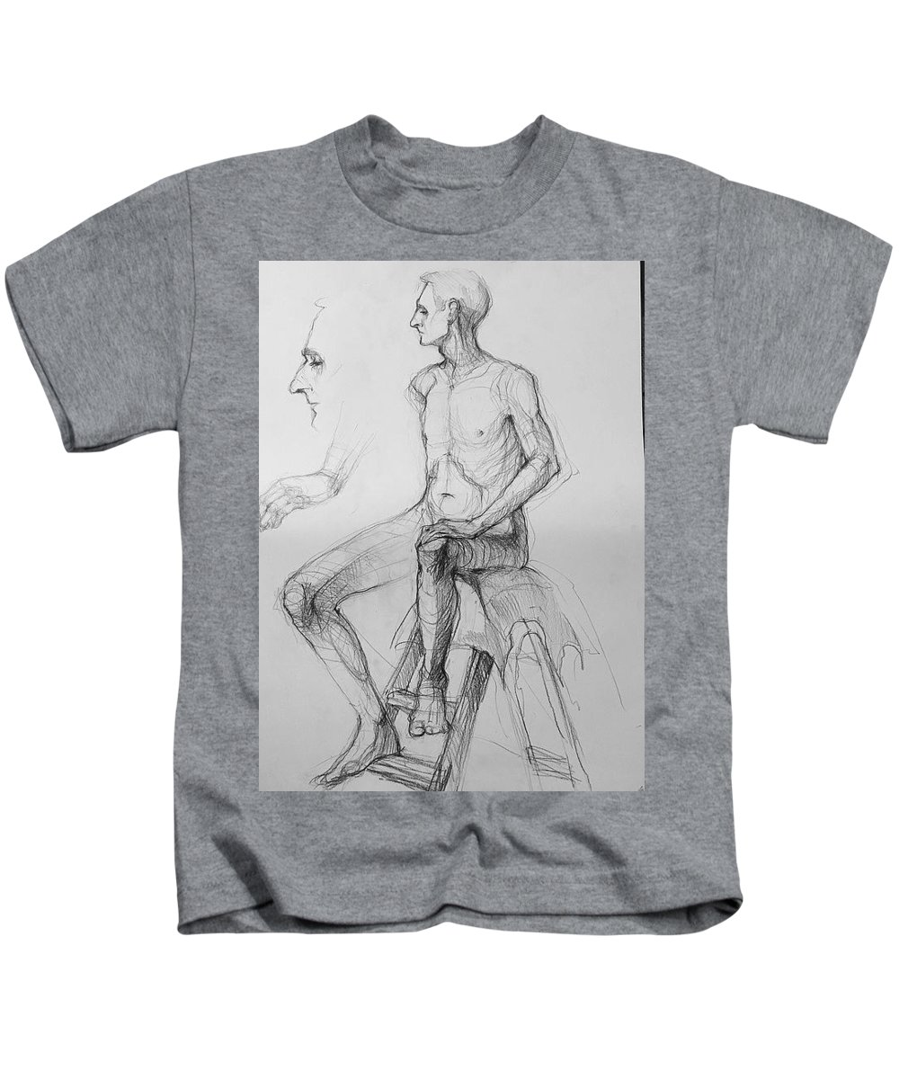 Pencil Kids T-Shirt featuring the drawing Man Seating Face Hand by Elena A