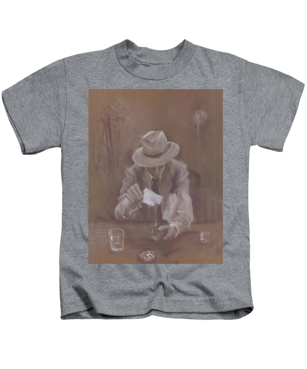 Man Kids T-Shirt featuring the drawing Man With Heat by Jovica Kostic