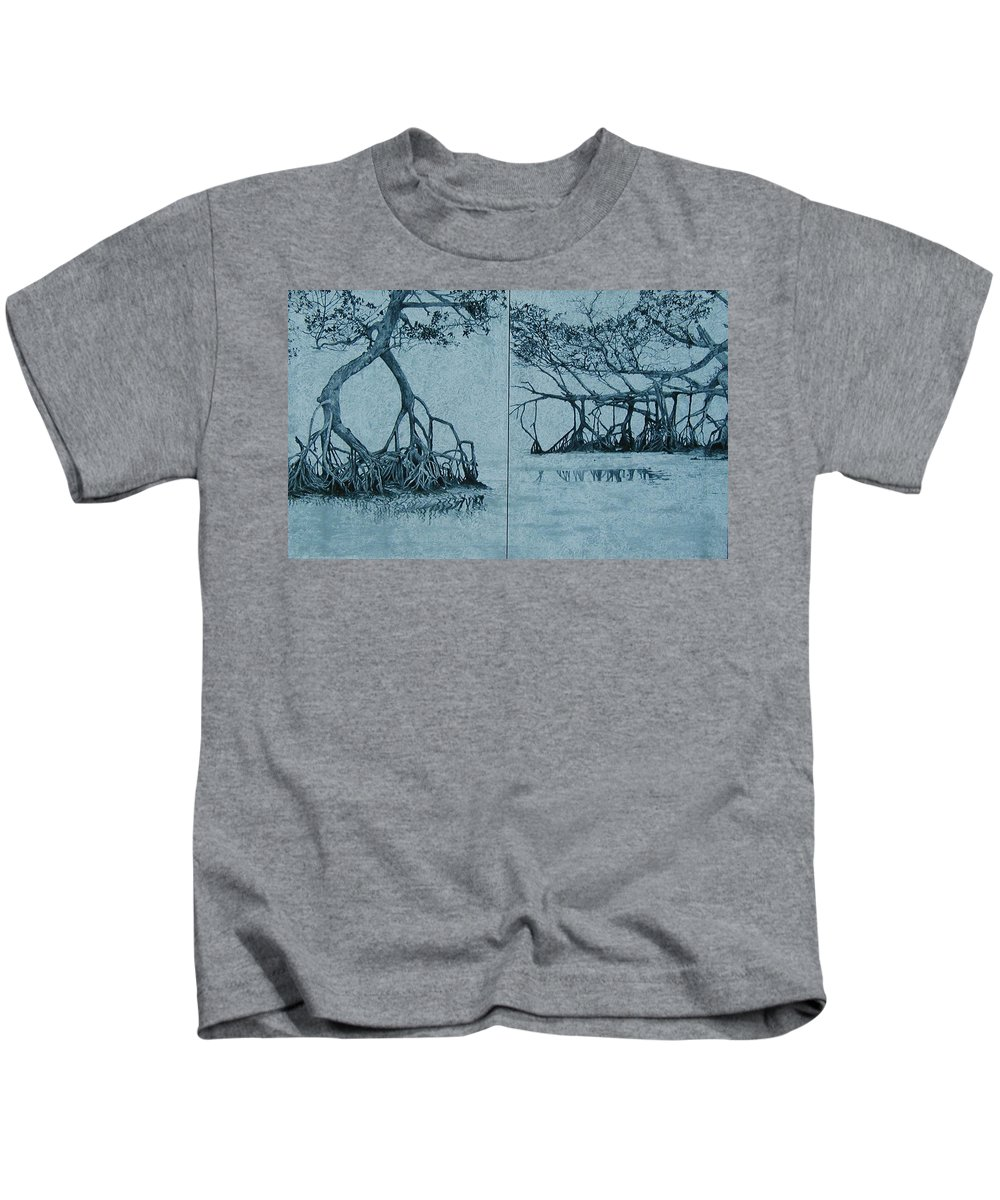 Blue Kids T-Shirt featuring the painting Mangroves by Leah Tomaino