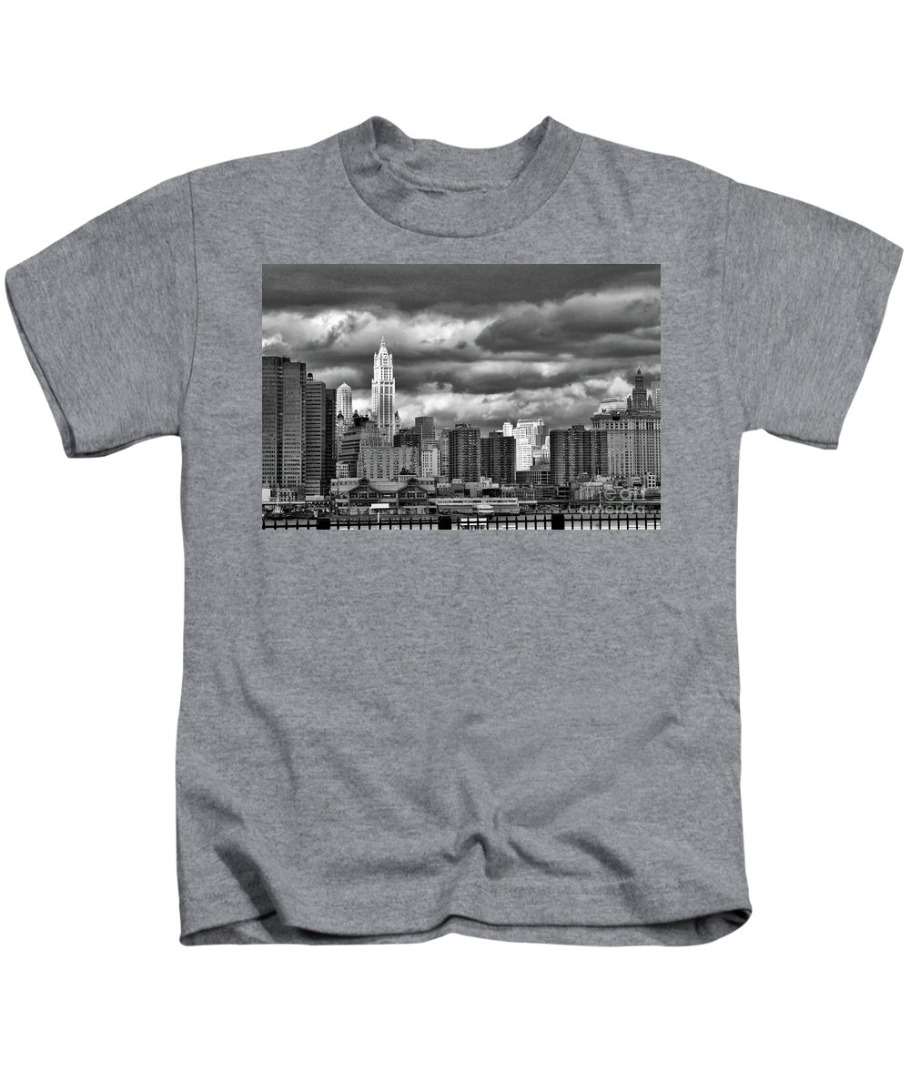 Nyc Kids T-Shirt featuring the photograph Manhattan Nyc Storm Clouds Cityview by Chuck Kuhn