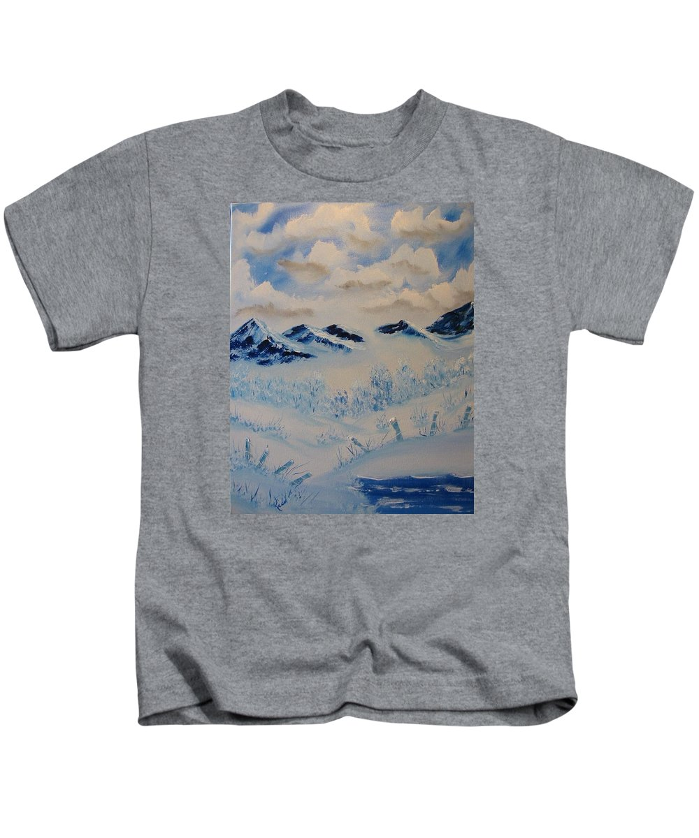 Blue Kids T-Shirt featuring the painting Many Valleys by Laurie Kidd