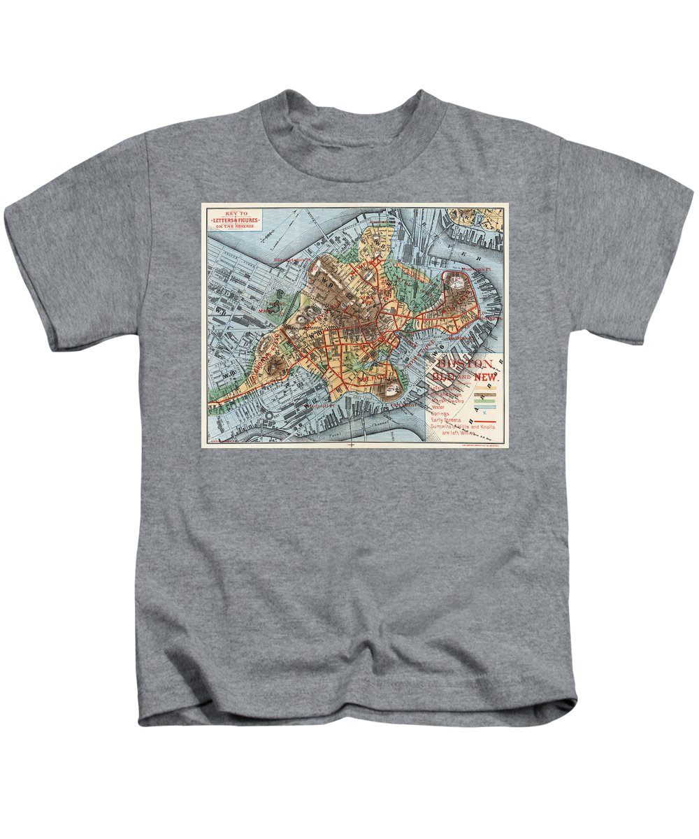1880 Kids T-Shirt featuring the photograph Map: Boston, C1880 by Granger