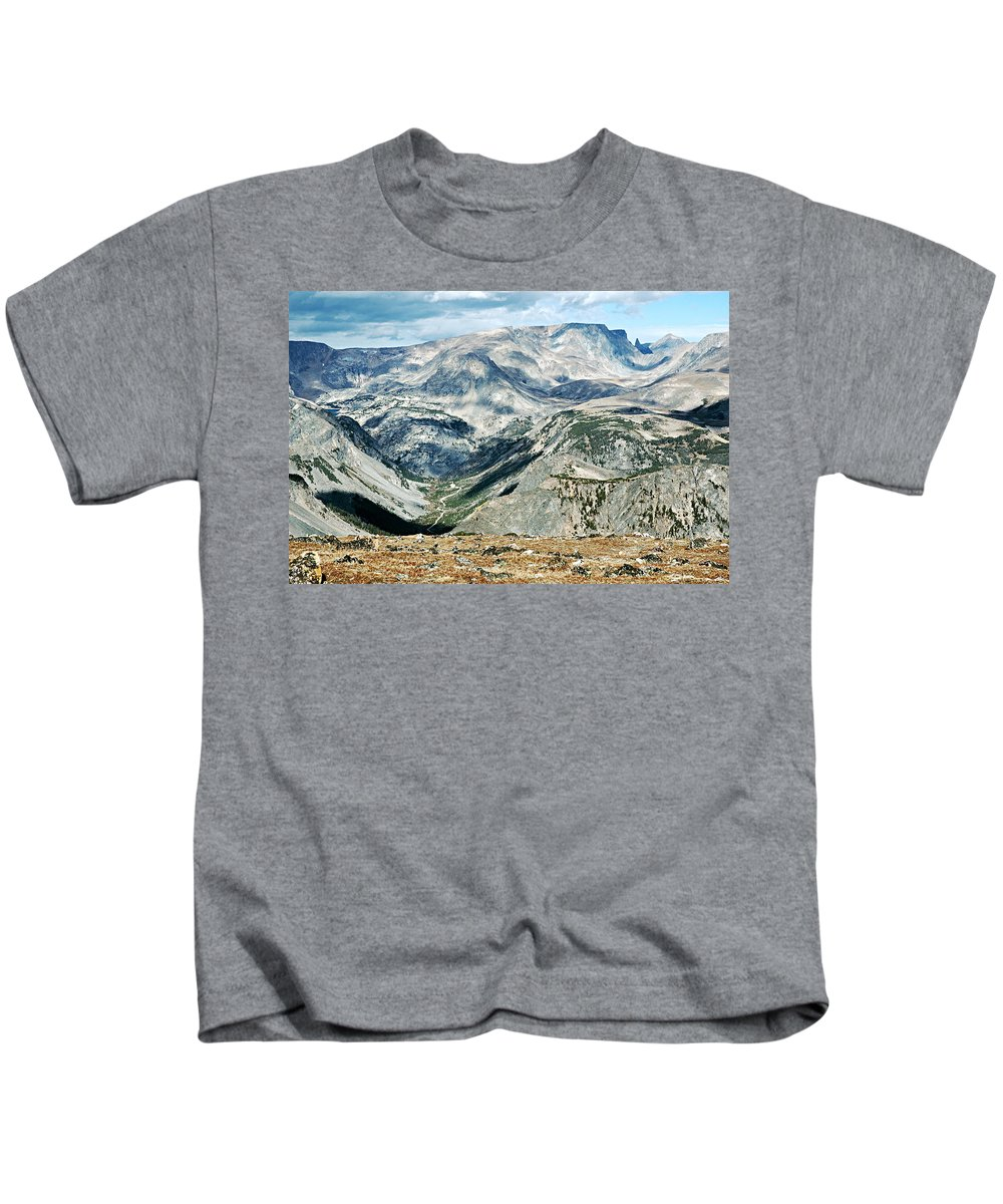 Beartooth Mountains Kids T-Shirt featuring the photograph Marbled Mountains by Larry Ricker