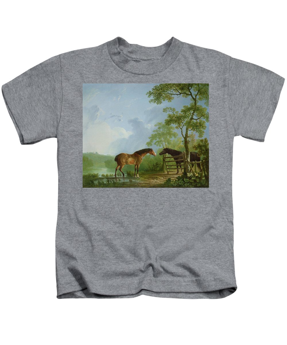 Mare Kids T-Shirt featuring the painting Mare And Stallion In A Landscape by Sawrey Gilpin