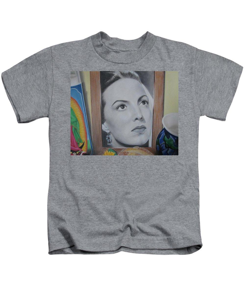 Maria Felix Kids T-Shirt featuring the painting Maria Bonita by Lynet McDonald