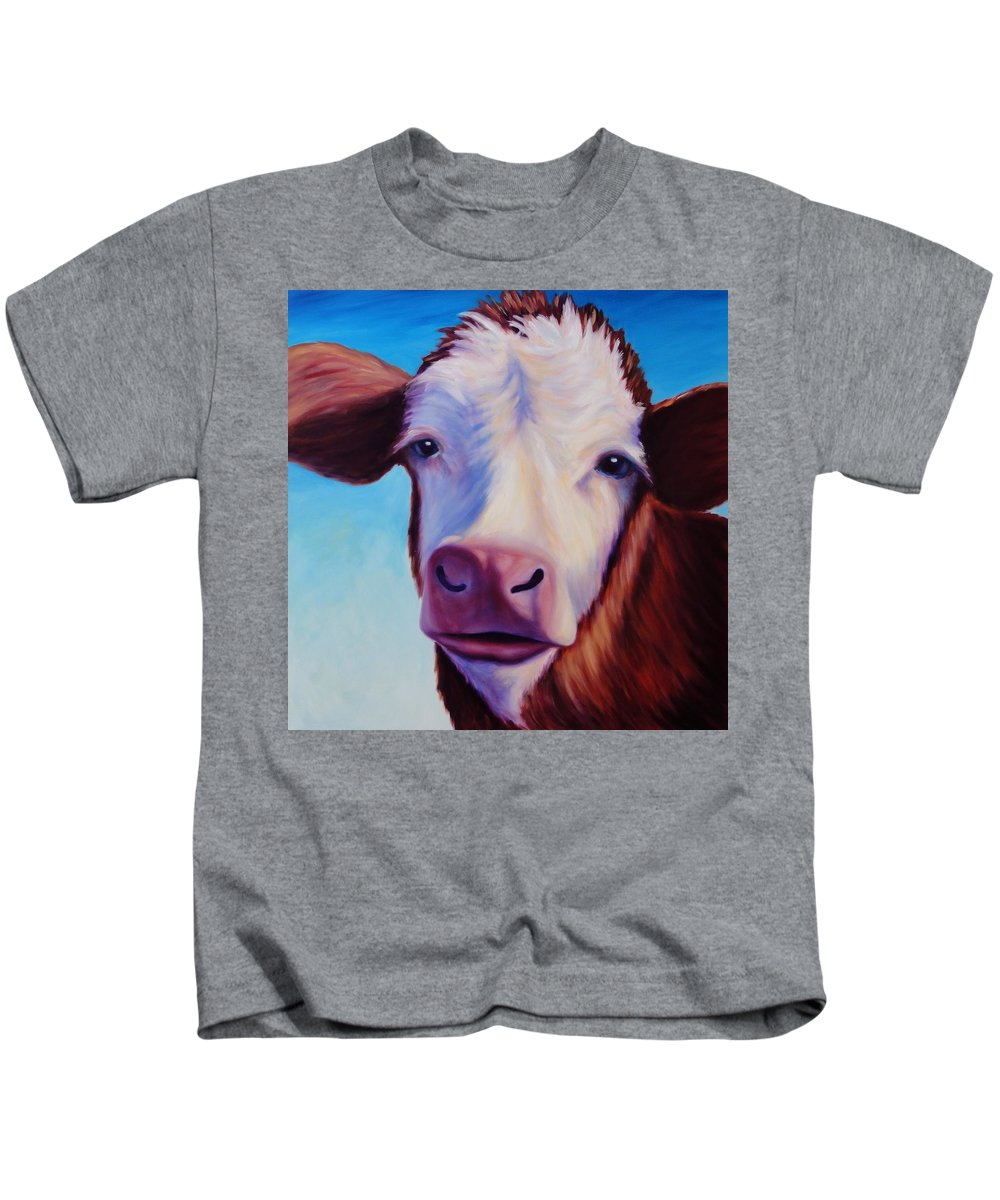 Cow Kids T-Shirt featuring the painting Marie by Shannon Grissom