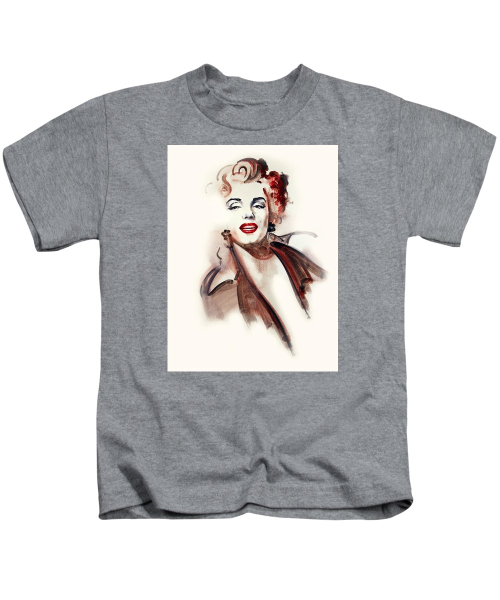 Actors Kids T-Shirt featuring the painting Marilyn Manroe by Ron Di Scenza