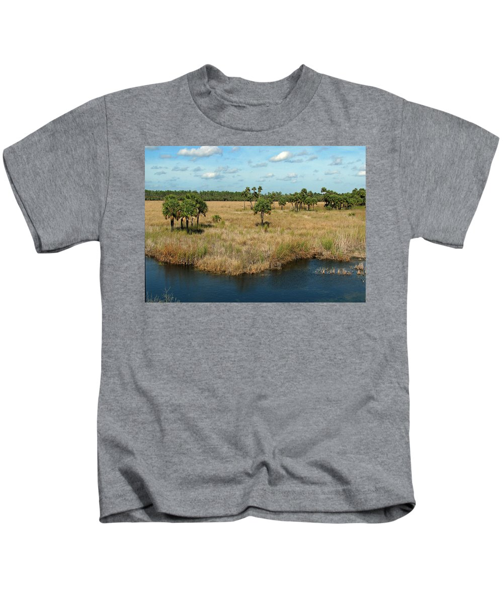 Nature Kids T-Shirt featuring the photograph Marshland by Peg Urban
