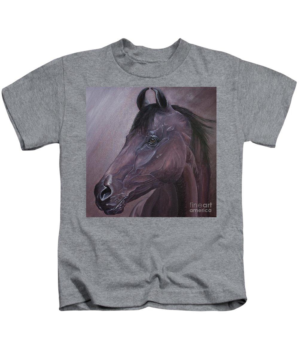Horse Marwari Equine Purple Kids T-Shirt featuring the painting Marwari Purple by Pauline Sharp