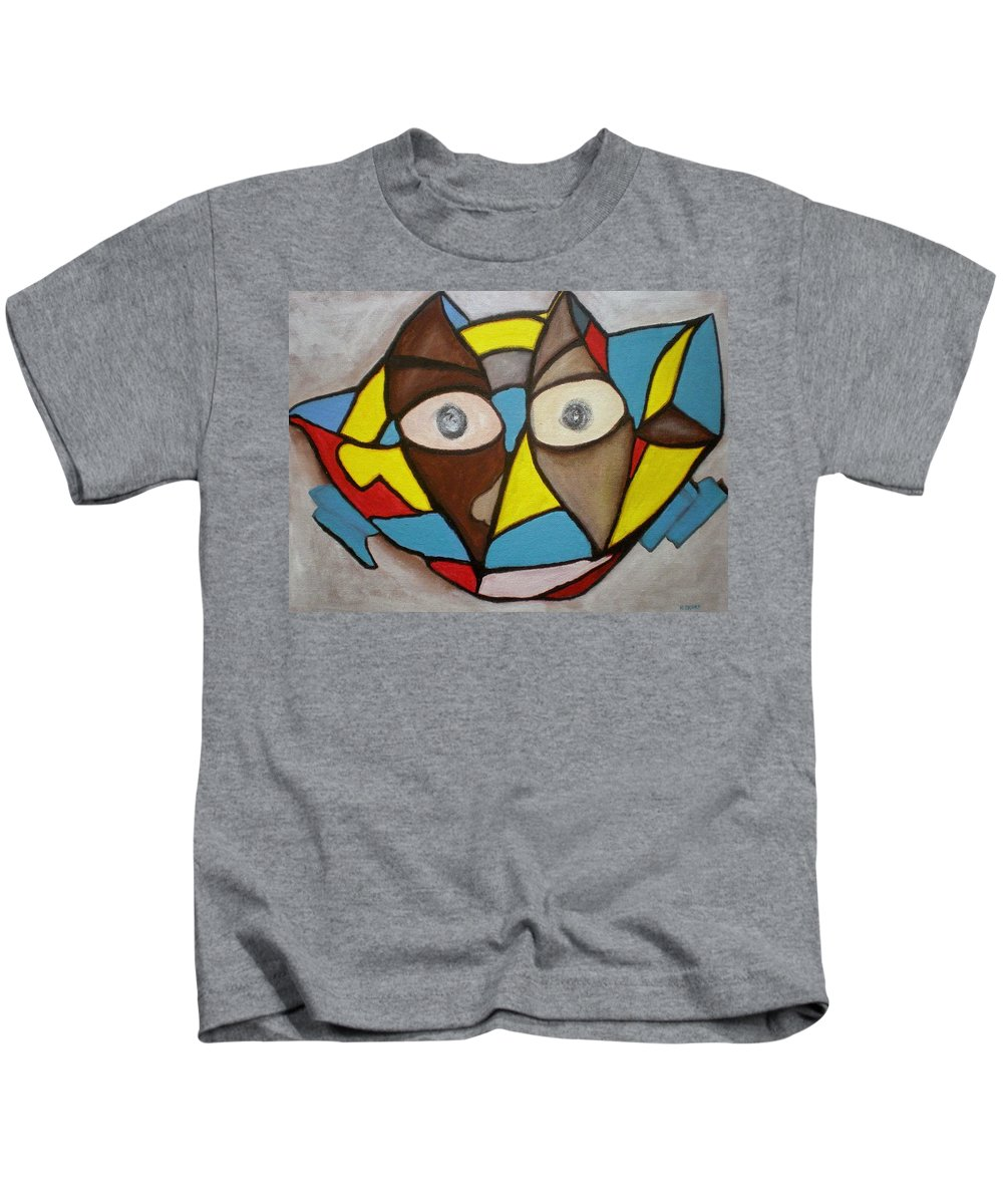 Masks Kids T-Shirt featuring the painting Mask by Philip Okoro