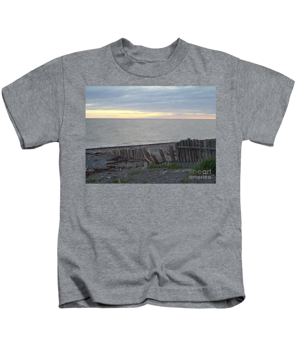 Seascape Kids T-Shirt featuring the photograph Matane In The Morning... by Line Gagne