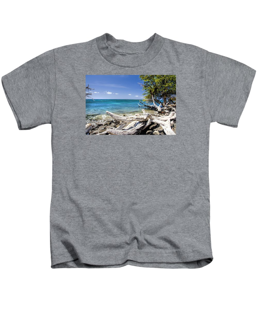Maui Kids T-Shirt featuring the photograph Maui Drift Wood by Keith Ducker