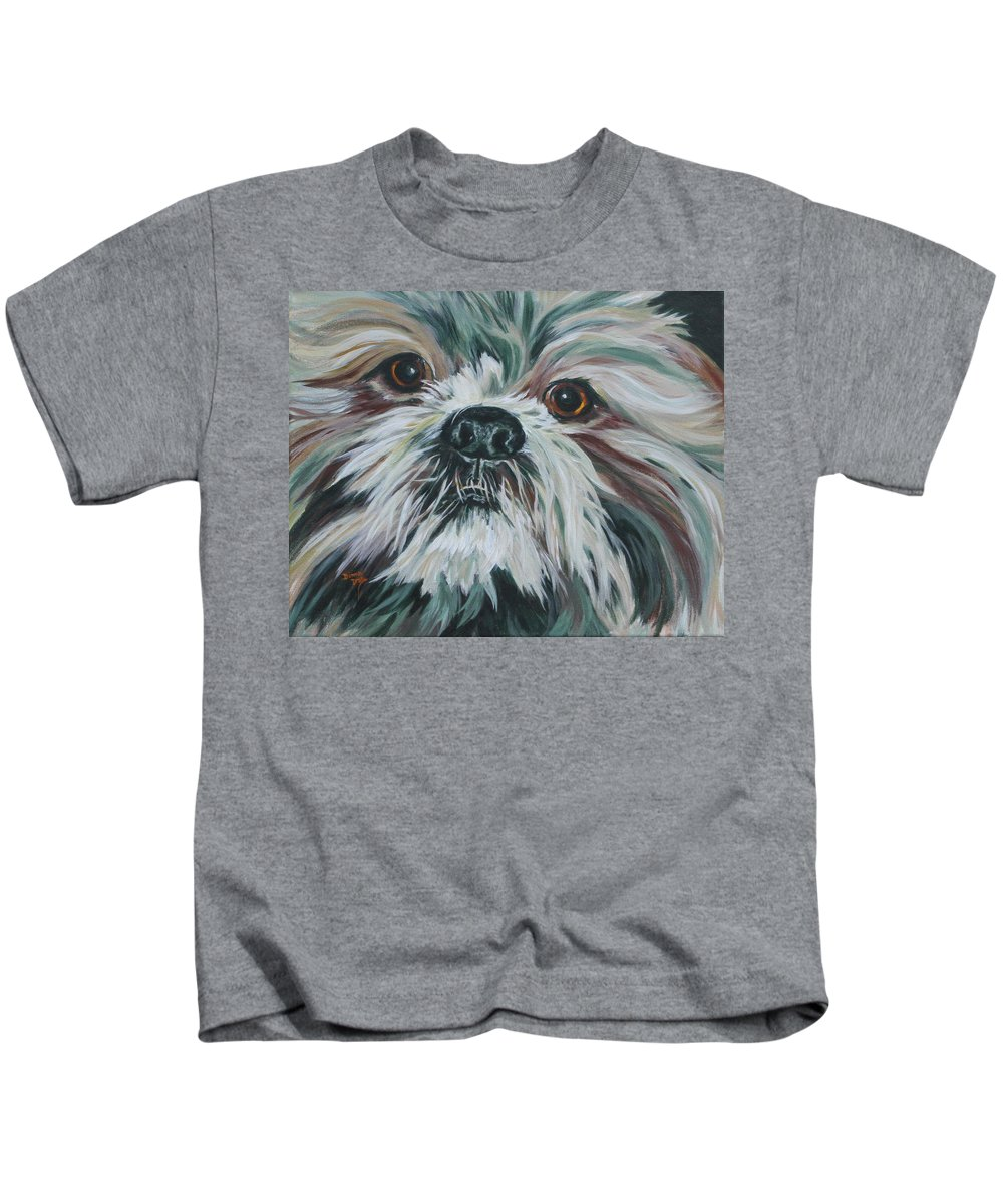 Shih-tzu Portrait.dog Portrait Kids T-Shirt featuring the painting Max Up Close And Personal by Donna Drake