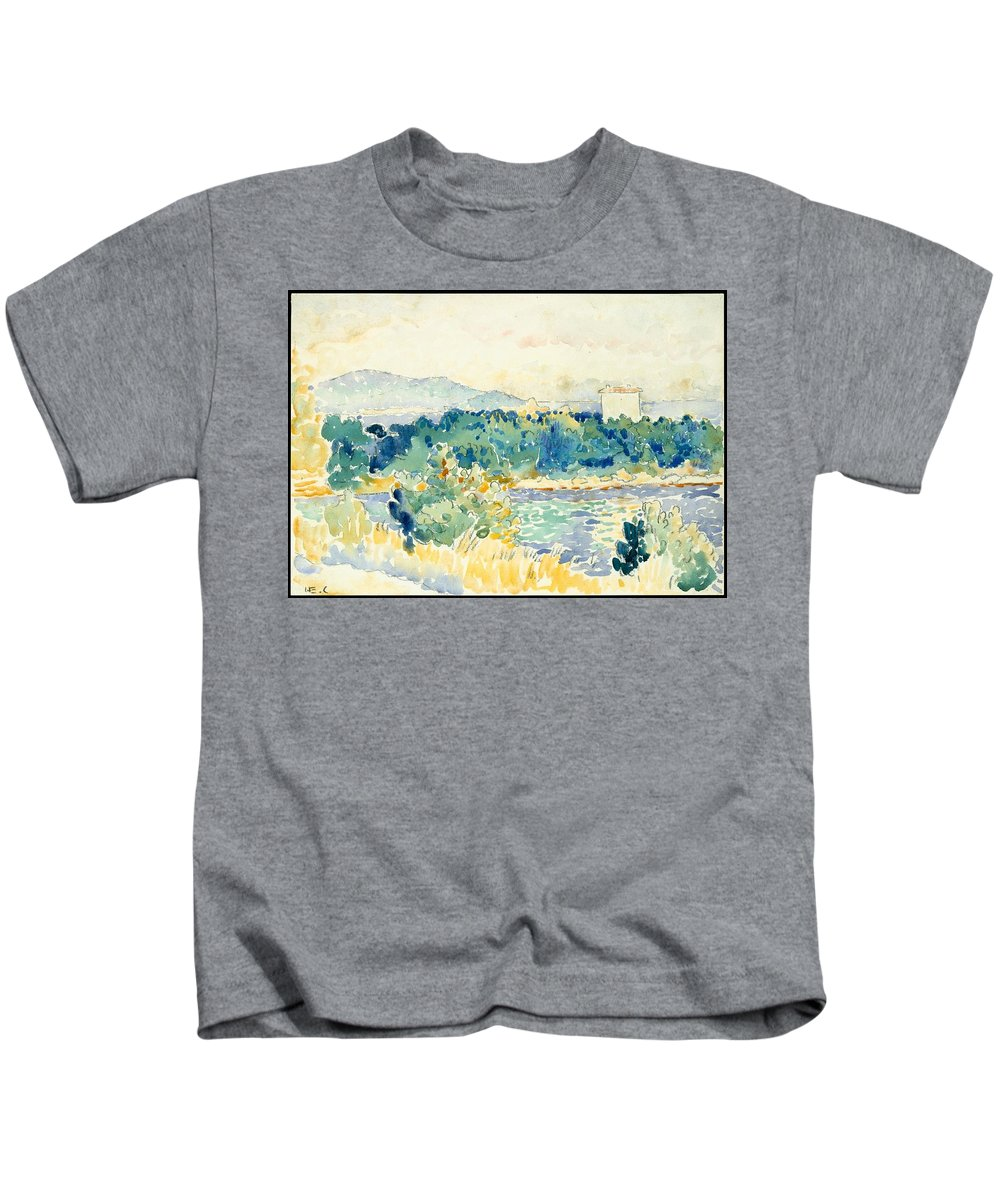 Mediterranean Landscape With A White House Kids T-Shirt featuring the painting Mediterranean Landscape With A White House by MotionAge Designs