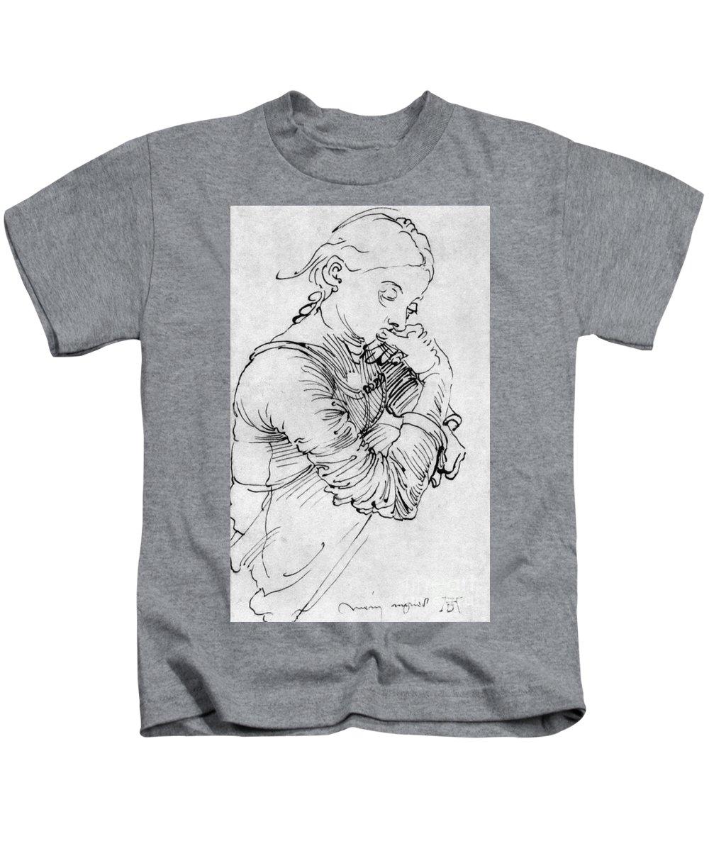 Albrecht Durer Kids T-Shirt featuring the drawing Mein Agnes 1494 By Albrecht Durer by Art Anthology