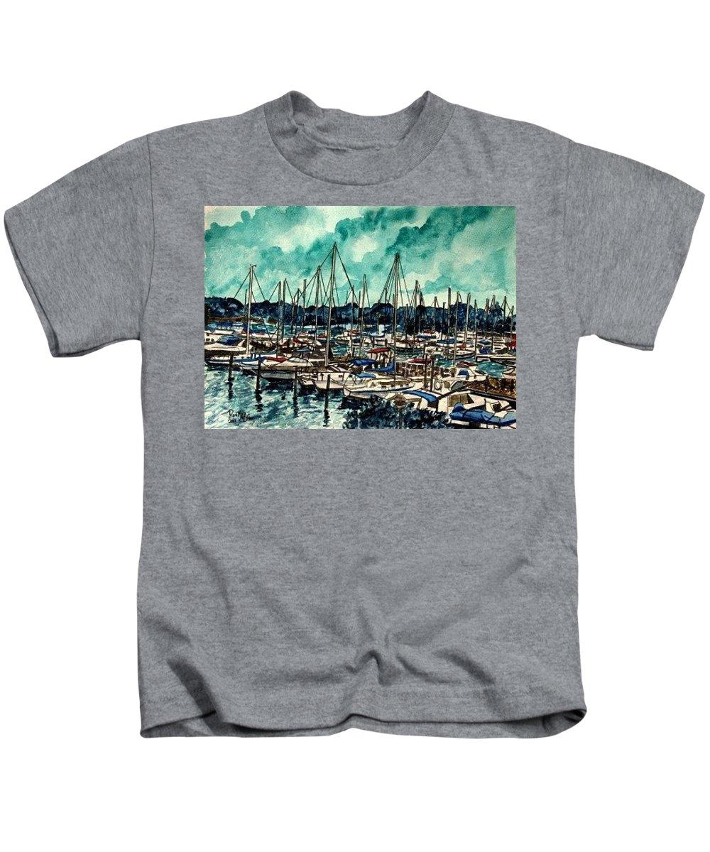 Sailboat Kids T-Shirt featuring the painting Melbourne Florida Sailing Marina by Derek Mccrea