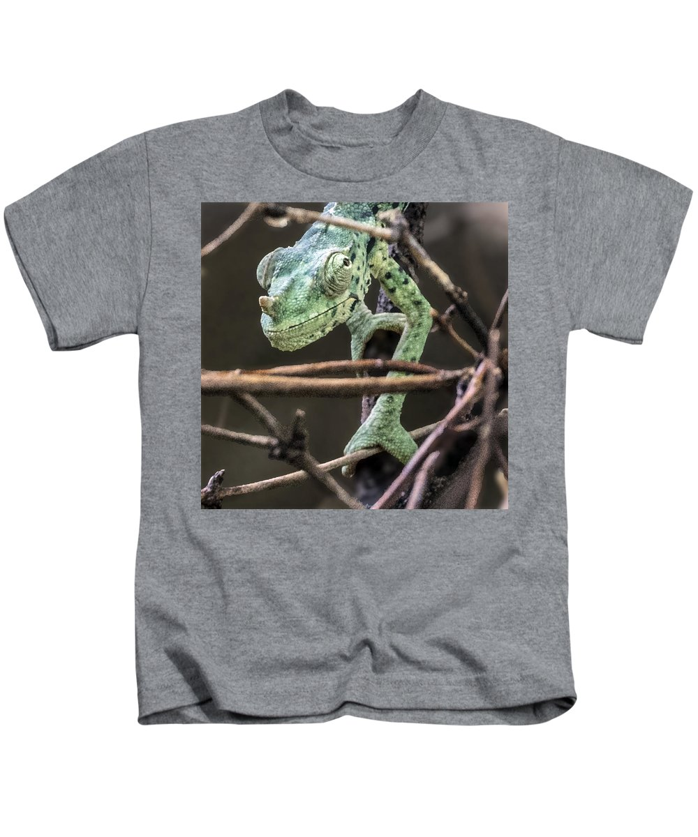 Reptile Kids T-Shirt featuring the photograph Mellers Chameleon Portrait 3 by William Bitman
