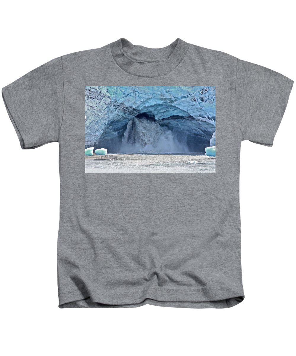 Alaska. Glacier Kids T-Shirt featuring the photograph Melting Glacier by Diana Hatcher