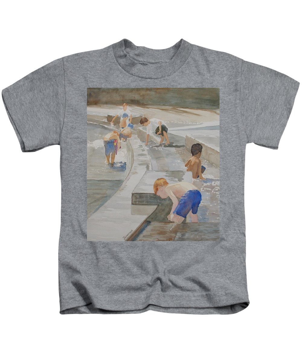 Boys Kids T-Shirt featuring the painting Memorial Day Waterworks by Jenny Armitage
