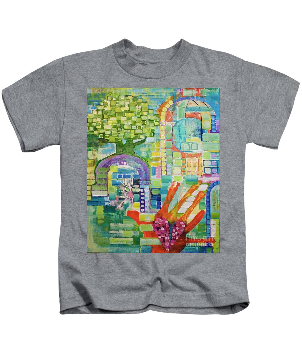 Abstract Kids T-Shirt featuring the painting Memory Garden by Donna Howard