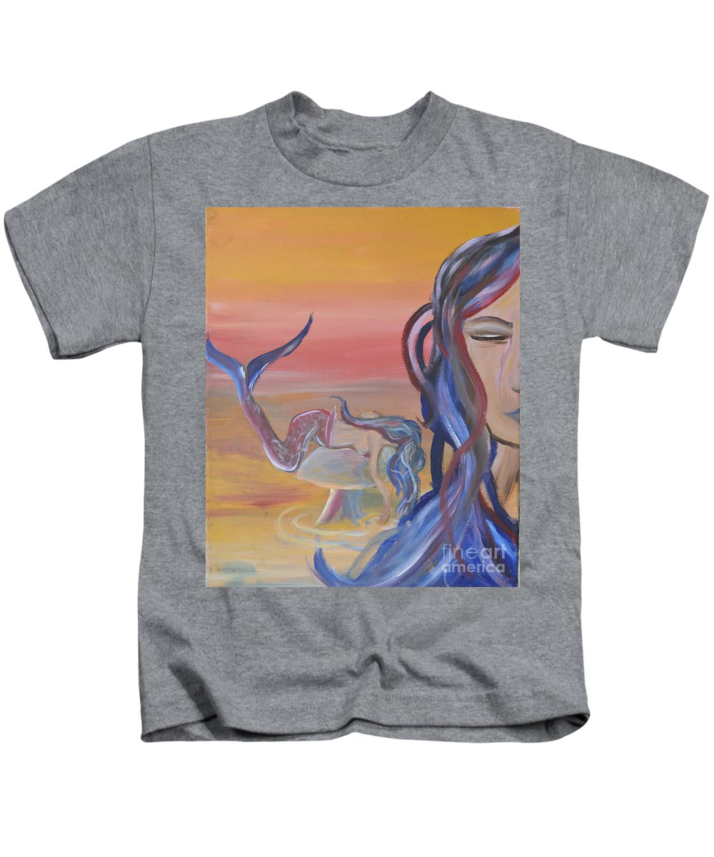 Meramid Art Kids T-Shirt featuring the painting Mermaid Tears by Cassondra Eastham