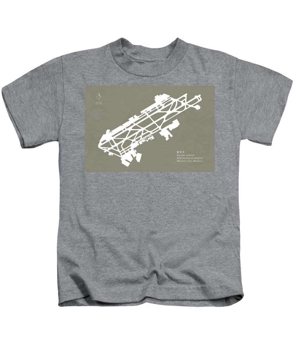 Silhouette Kids T-Shirt featuring the digital art Mex Benito Juarez International Airport Silhouette In Gray by Jurq Studio