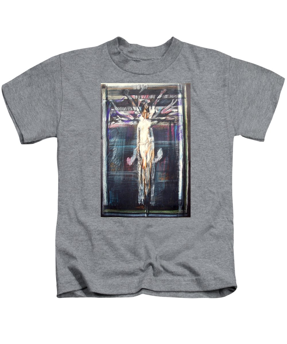Crucifixion Kids T-Shirt featuring the painting Mhc #091224 by John Warren OAKES