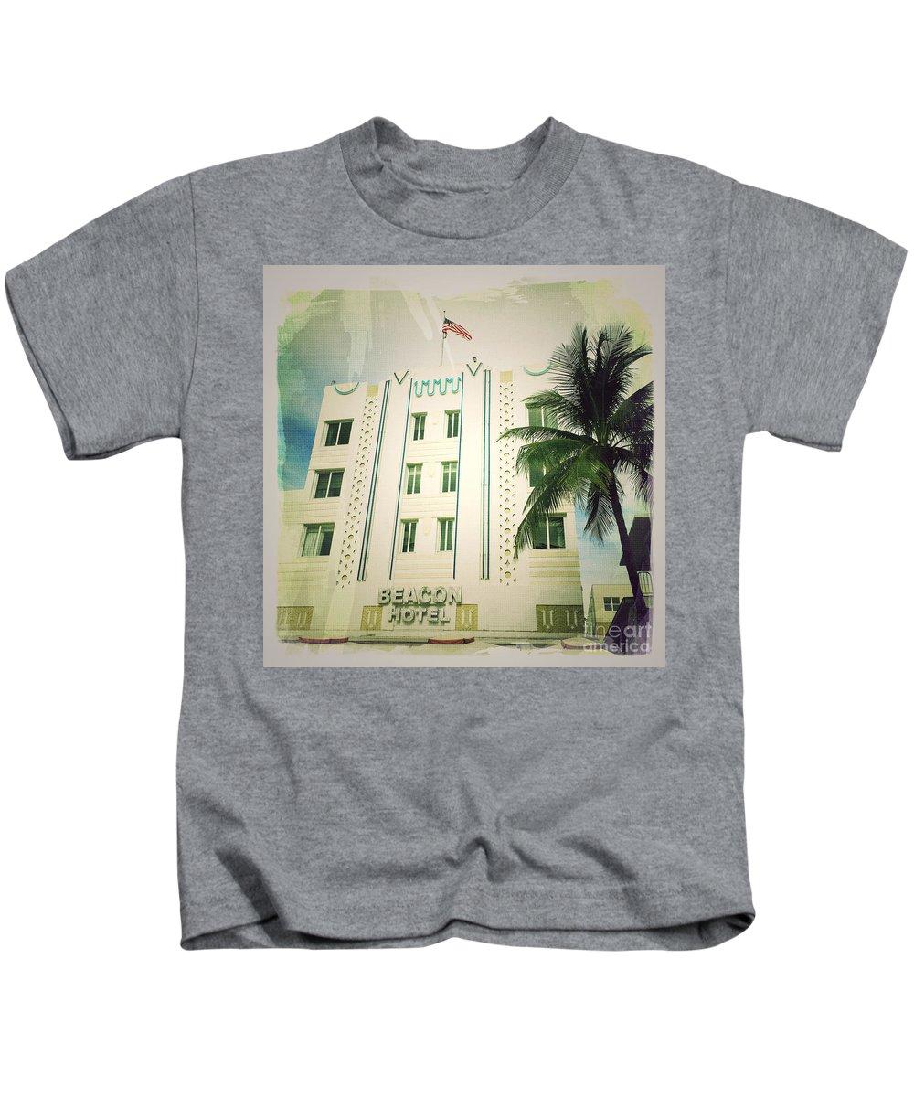 Miami South Beach Ocean Drive 3 Kids T-Shirt featuring the photograph Miami South Beach Ocean Drive 3 by Nina Prommer