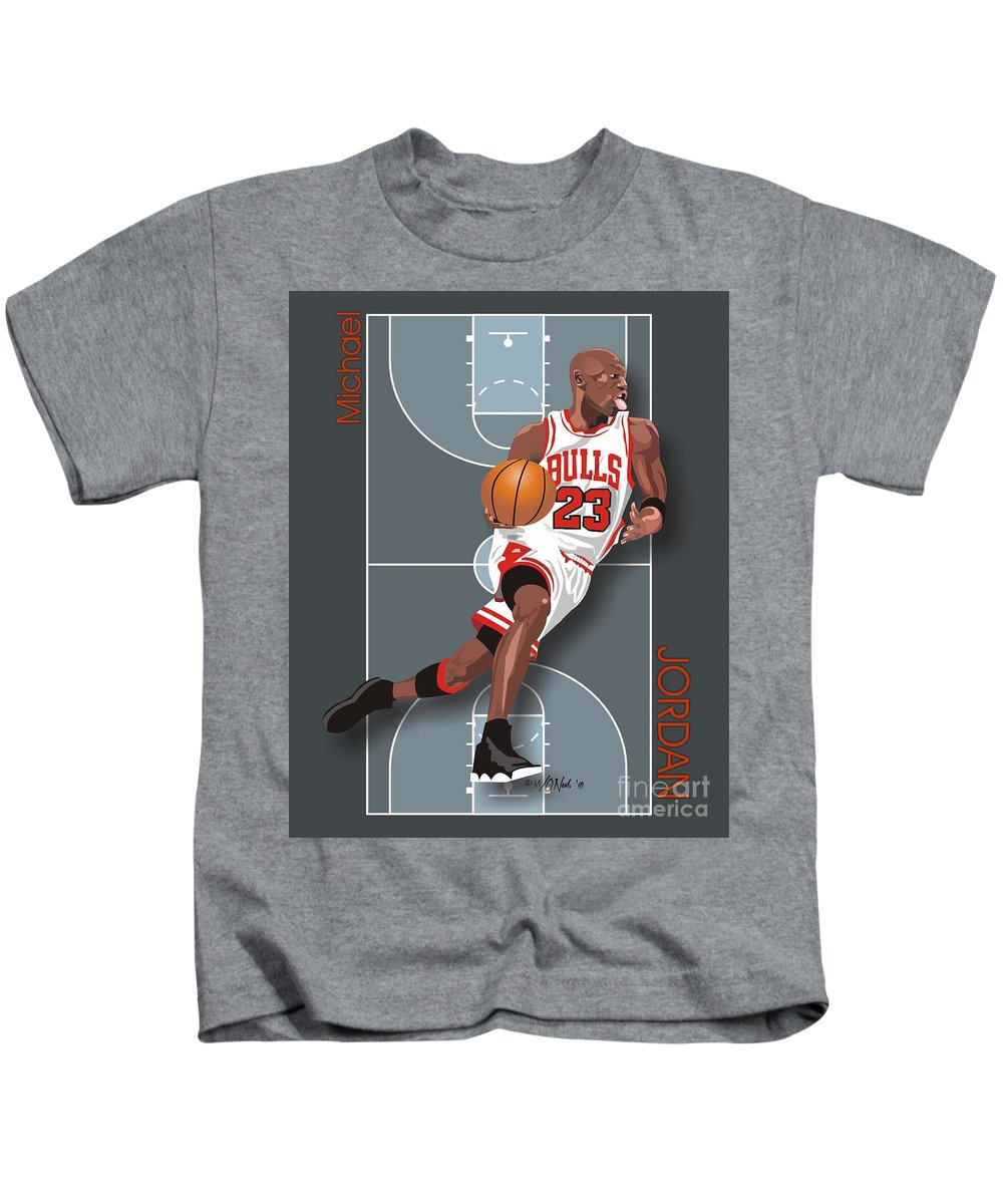 Portraits Kids T-Shirt featuring the digital art Michael Jordan, No. 23 by Walter Oliver Neal