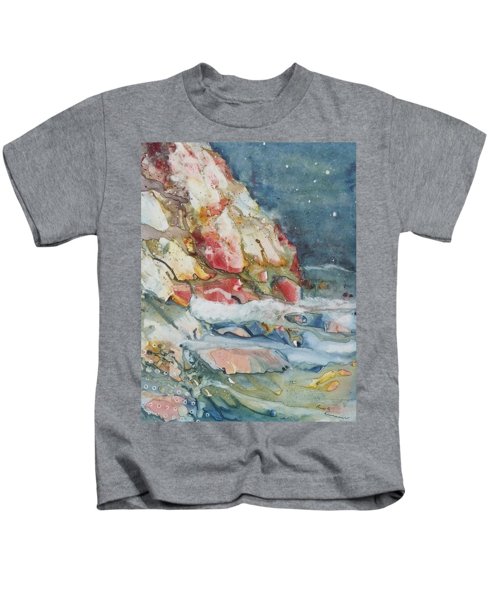 Abstract Kids T-Shirt featuring the painting Midnight Surf by Ruth Kamenev