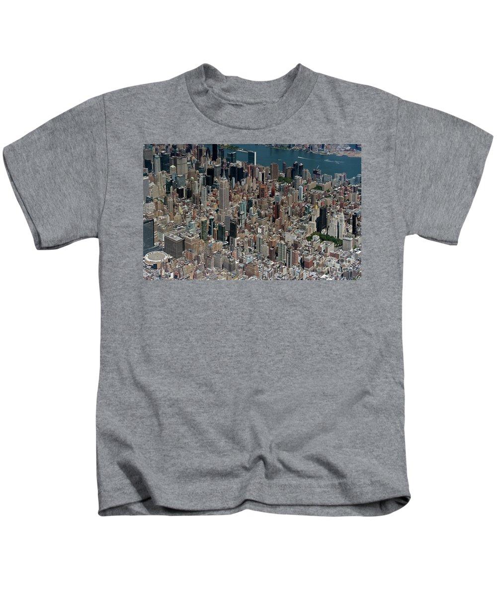 Midtown Kids T-Shirt featuring the photograph Midtown East Manhattan Skyline Aerial  by David Oppenheimer