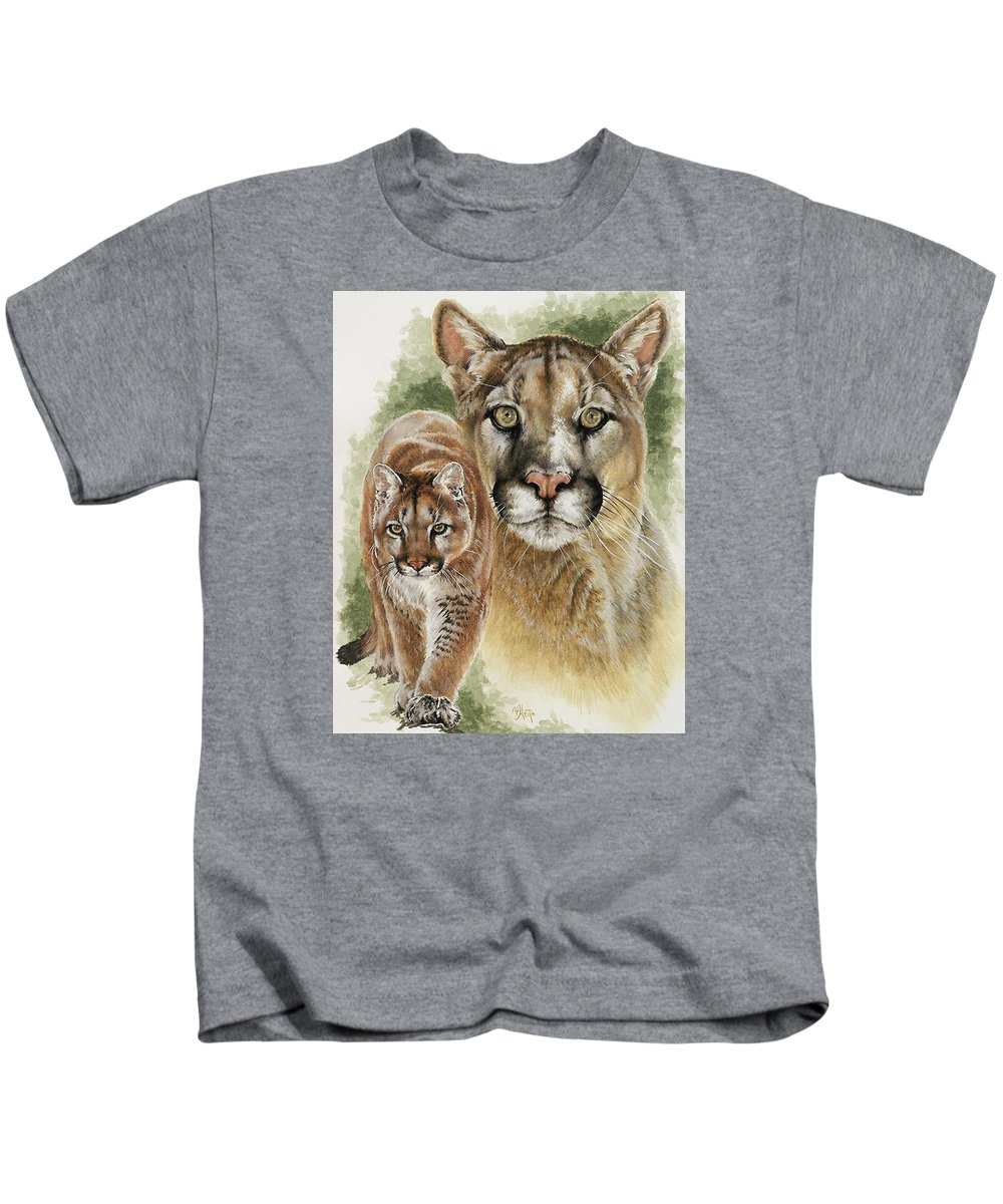 Cougar Kids T-Shirt featuring the mixed media Mighty by Barbara Keith
