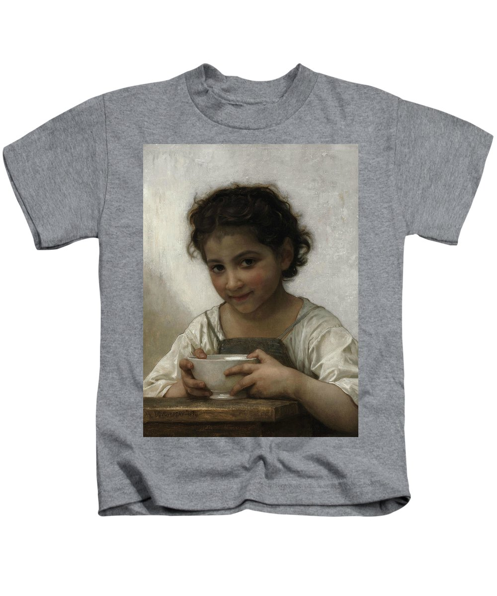 William-adolphe Bouguereau Kids T-Shirt featuring the painting Milk Soup by William-Adolphe Bouguereau
