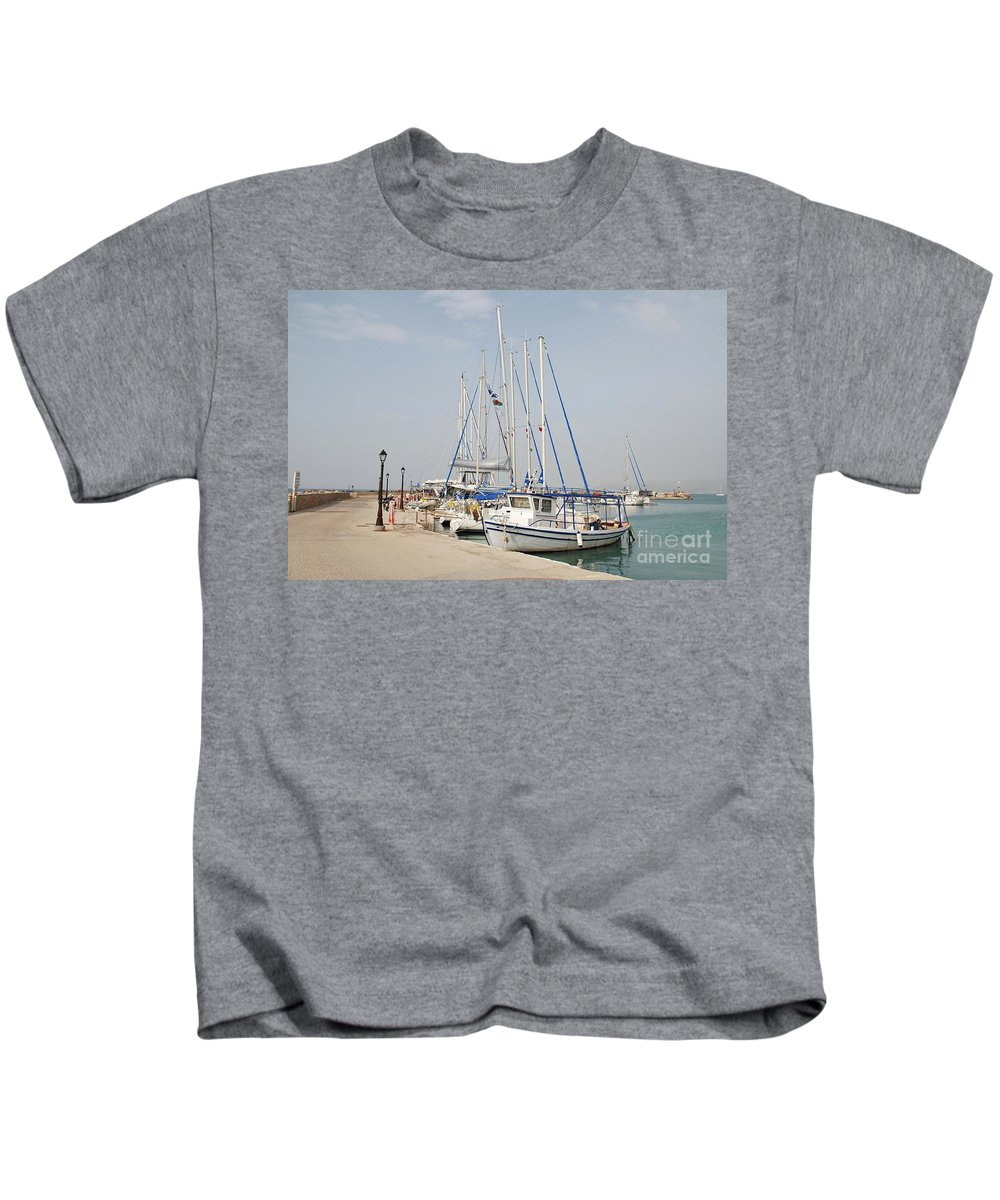 Agistri Kids T-Shirt featuring the photograph Milos Harbour On Agistri by David Fowler