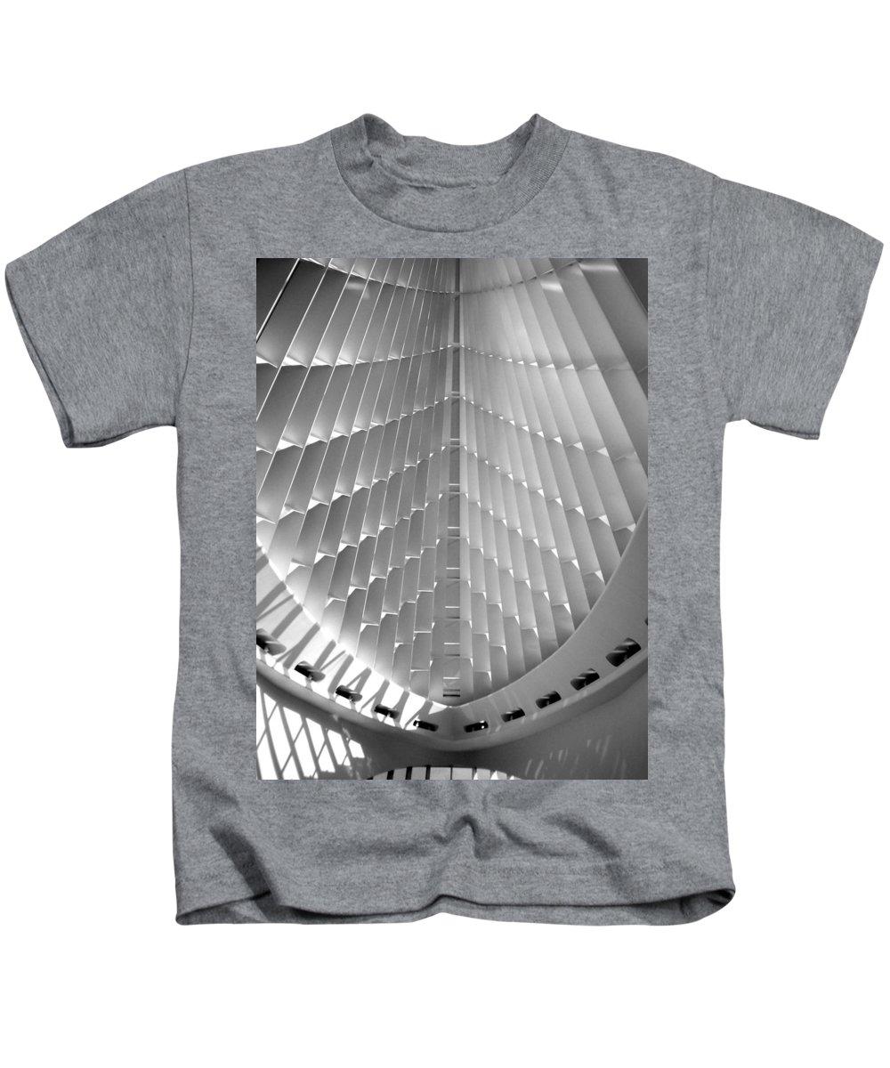 Mam Kids T-Shirt featuring the photograph Milwaukee Art Museum Interior B-w by Anita Burgermeister