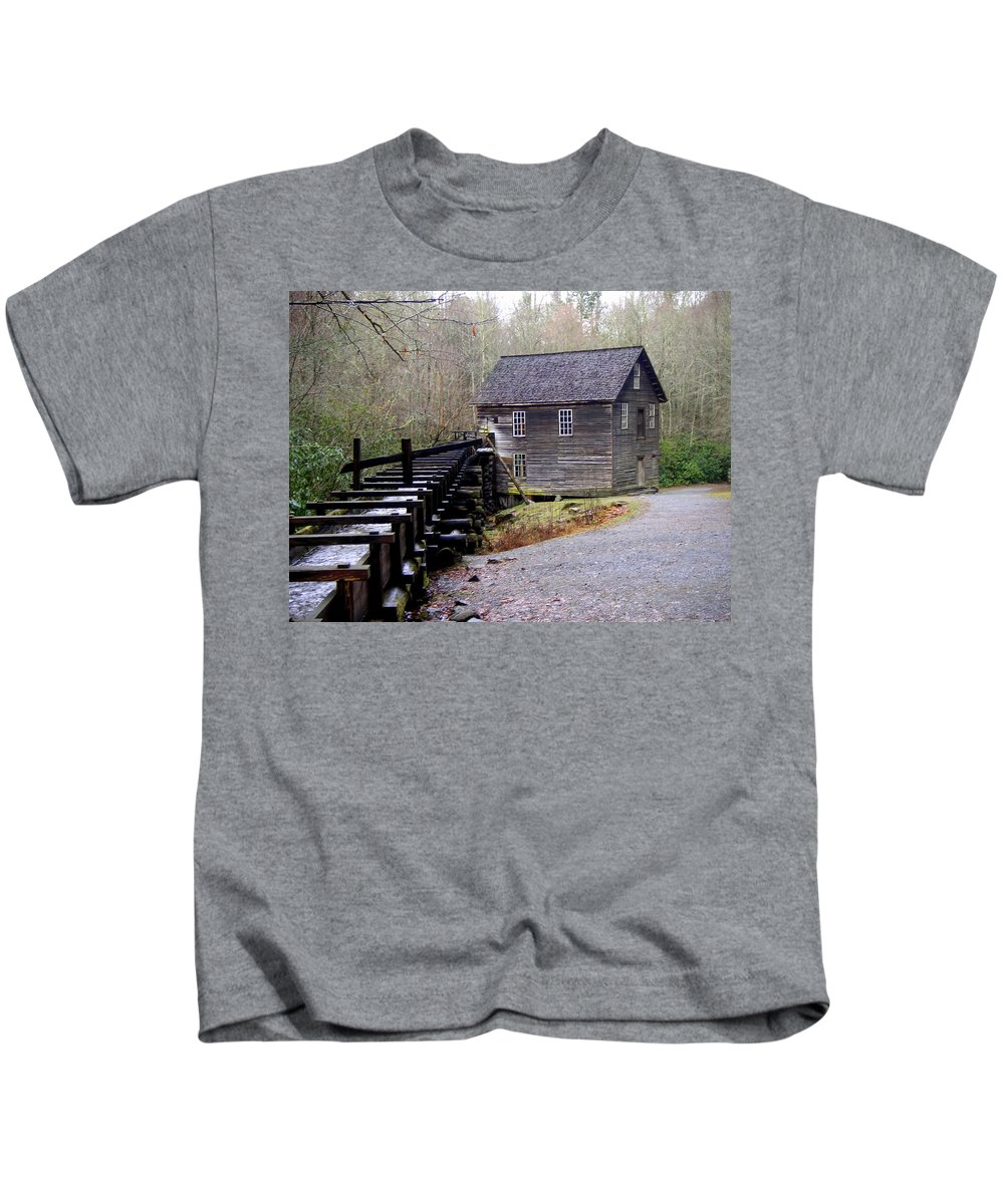 Great Smokey Mountain National Park Kids T-Shirt featuring the photograph Mingus Mill by Marty Koch