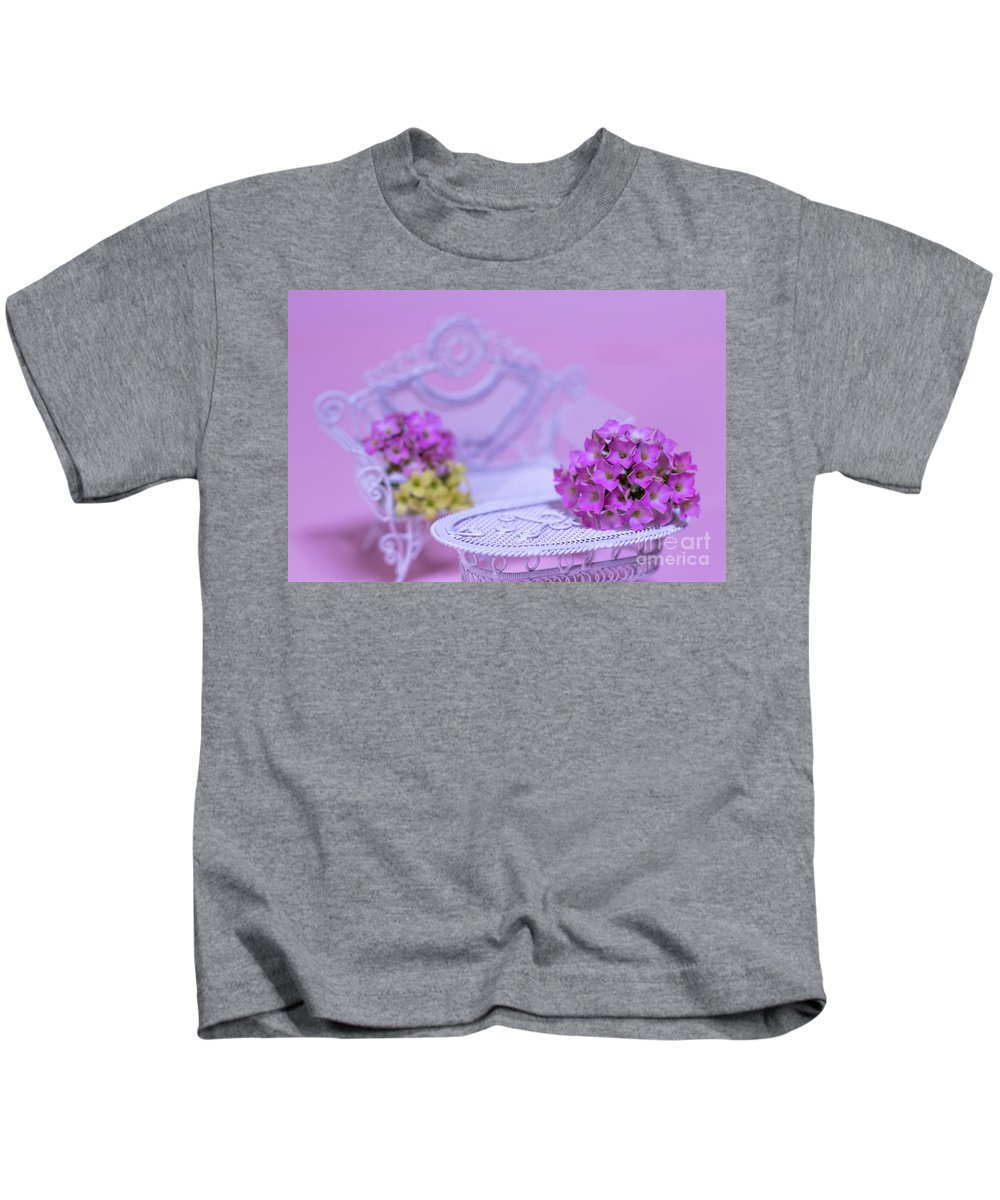 Background Kids T-Shirt featuring the photograph Miniature Table And Chair Set With Kalanchoe by Eiko Tsuchiya